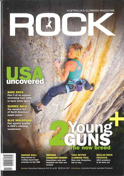 Rock Magazine featuring Monique Forestier, Dan Fisher and the Edelrid Creed adjustable climbing harness